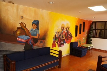 Panoramic view of the oil paintings in the hotel