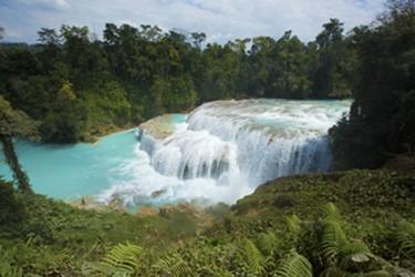 Vista de las cascadas de Agua Azul durante el recorrido