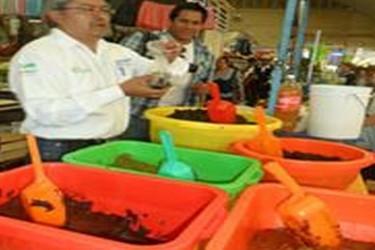 Mercader vendiendo Mole Poblano en pasta