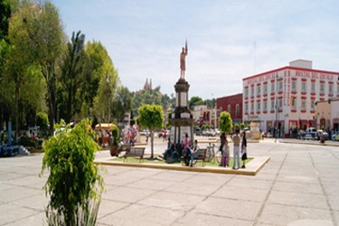 Vista de la plaza central de San Pedro Cholula
