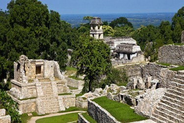 Mayan archaeological site located in the center of a tropical forest