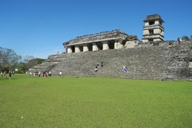 Maya palace in the archaeological site of Palenque