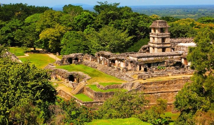 Ruinas de Palenque tomadas desde una vista aerea