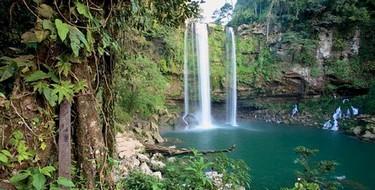 Hermosa vista de la cascada de Misol Ha