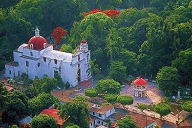 Vista aérea del parque central de la Antigua