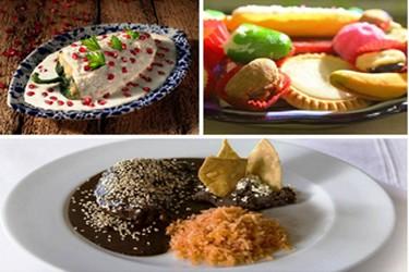 Variedad de platillos tipícos de Puebla